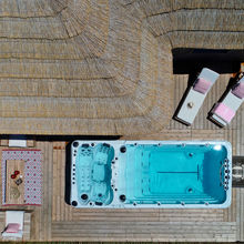 Aerial view of our Tiki Lounge Garden Swimspa 2 bedrooms